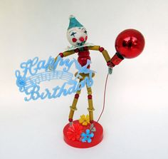 Vintage Style Clown Decoration Happy Birthday Fun Cake Decoration Spun Cotton Clown