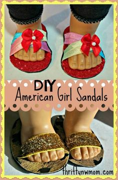 To Make American Girl Doll Shoes / Sandals (No Sewing Required)! How To Make American Girl Doll Shoes / Sandals (No Sewing Required)! - Thrifty NW MomHow To Make American Girl Doll Shoes / Sandals (No Sewing Required)! American Girl Doll Shoes, American Girl Accessories, American Girl Crafts, American Doll Clothes, American Girls, Doll Accessories, Sewing Doll Clothes, Girl Doll Clothes, Girl Dolls
