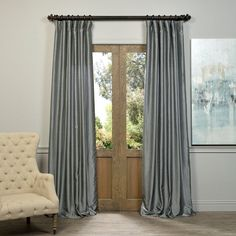 Exclusive Fabrics Storm Grey Vintage Faux Textured Dupioni Silk Curtain Panel