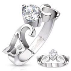 Stst Ring With Simulated Diamond, Wing Design Band