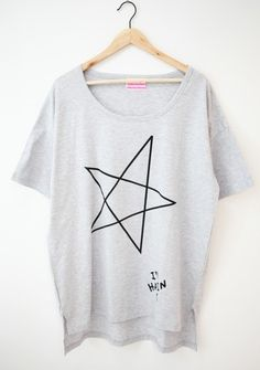 Grey Vintage Round Neck Short Sleeve Star Print Loose T-Shirt