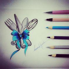 Desenho feito para Melaine Querida amiga Feito para tattoo Amar o que se faz,amar cozinhar.