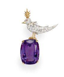 "AN AMETHYST AND DIAMOND ""BIRD ON A ROCK"" BROOCH, BY JEAN SCHLUMBERGER, TIFFANY & CO."