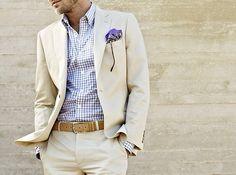 Stone twill cotton suit, sky gingham shirt, tan belt, lavender pocket square. #THEFULLERVIEW