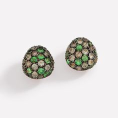 Corcovado Resort Stud Earrings in Rose Gold with Brown Diamonds, Green Sapphires and Tsavorites