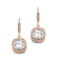 Mariell 14KT Rose Gold Plated Cubic Zirconia Dangle Earrings with CushionCut Halos  Bridal or Fashion ** Read more  at the image link.