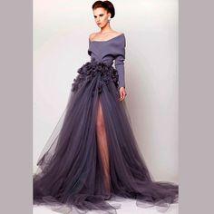 vestidos de noche Abendkleider Elegant Grey Unique Dubai Evening Dresses with Long Sleeve Side Slit Special Occasion Dress