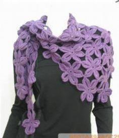 crochet flower scarf - crochet bufanda de flores