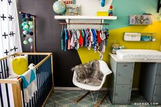 The shelves & changing table, so convertible!  the boo and the boy: eclectic nurseries
