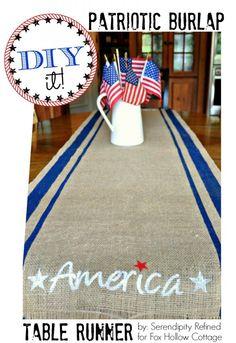 DIY it: A Patriotic 4th of July craft   #burlap #runner #4thofJuly