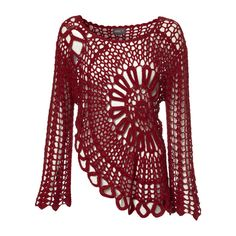 Red Crochet Bell Sleeve Top (11.110 HUF) ❤ liked on Polyvore featuring tops, shirts, sweaters, red, crochet shirt, red top, crochet bell sleeve top, flared sleeve top and macrame top
