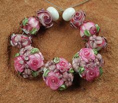 Lampwork Glass Beads Purple Pink Flower Garden by carolynsbeads, $32.00