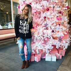 Happy Friday!  all comfy & cozy cus baby, it's cold outside! @sheisbtq has some really cute tops right now under $30, and you can save 15% with my code 'Blaire15'    Ps how adorable is this pink Christmas tree @quirkhotel in Richmond?    http://liketk.it/2pTt8 @liketoknow.it #liketkit