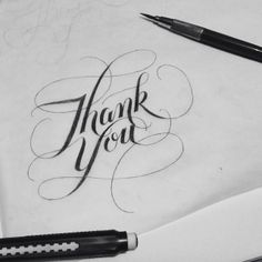 My Doyald-inspired 'thank you'. #type #typography #lettering #handlettering | Flickr - Photo Sharing!