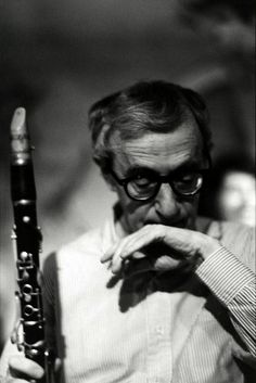 Woody Allen on the jazz clarinet, by François-Marie Banier.