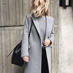 Grey oversize coat + Grey turtleneck sweater