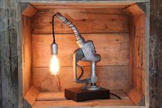 Vintage Automotive Desk Lamp - Gas Pump Handle Table Light - Repurposed Lighting by EastchesterandOrange on Etsy https://www.etsy.com/listing/196881131/vintage-automotive-desk-lamp-gas-pump