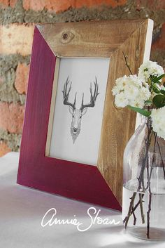 A personalised frame painted with Annie Sloan paint. Colour: Burgundy