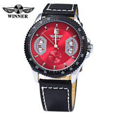 2016 뉴 럭셔리 패션 승자는 남자 기계 손 바람 손목 시계 남성용 가죽 스트랩 기계 손목 시계 시계