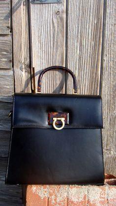 Sac noir vintage// porté main ou bandoulière/ par LesPtitesPepees