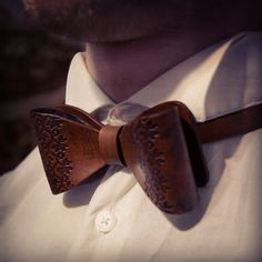 Leather bow tie leather accessories wedding by MoonshineLeather