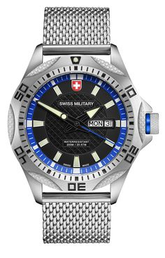 M's SWISS MILITARY day/date watch TANK, Ronda cal. 517 Swiss Made quartz mvt., black/blue dial, stainless steel case/mesh bracelet, screw-down crown, sapphire crystal, 20atm / 200m water resistance, stainless steel bracelet, width 22mm, with double pusher butterfly buckle, case: 44 mm, weight: 148gr. rrp = USD 593