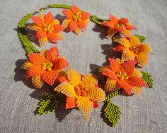 beaded leaves and flowers