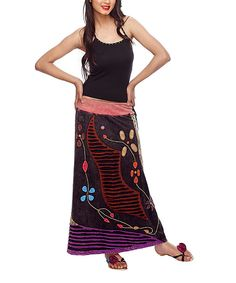 Look at this Rising International Brown & Purple Embroidered Maxi Skirt on #zulily today!
