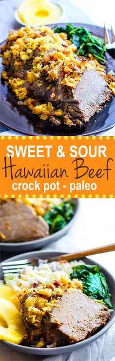 Easy Crock Pot Sweet and Sour Hawaiian Beef! A super easy paleo crock pot hawaiian Beef recipe that will satisfy the whole family! It' s healthy, simple, packed full of flavor! This crock pot beef is also freezer friendly .