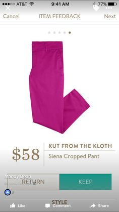 Kut From the Cloth Siena cropped pant-this color. Size down.