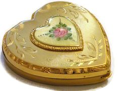 Vintage 1950's Heart Shaped Powder Compact with Guilloche enamel.