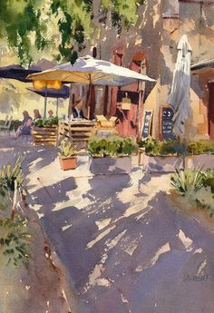 BoldBrush Outstanding Watercolor Painting Competition Winner - June 2015 The Cafe is Open by Mike Kowalski Watercolor Artists, Watercolor Landscape, Watercolour Painting, Painting & Drawing, Landscape Paintings, Watercolors, Painting Competition, Guache, Wow Art