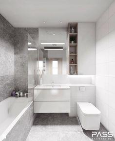 Aranżacje wnętrz - Łazienka: projekt 12 - Mała łazienka, styl minimalistyczny - PASS architekci. Przeglądaj, dodawaj i zapisuj najlepsze…