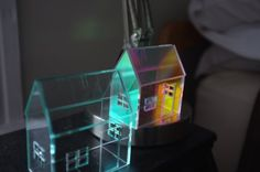 Set of 2 acrylic houses in different sizes and colors by 2of2, $70.00