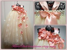 Peach and Ivory Lace Flower Girl Tutu Dress by KatieDscreations, $100.00
