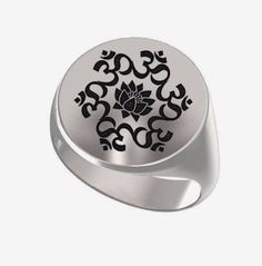 Signet Ring, Mens Ring, Personalized Ring, Lotus Om, Buddhism Religion, Mantra Ohm, Engraved Round Ring, 925 Sterling Silver https://www.etsy.com/shop/Ronninfinity