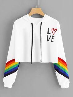 b89d92b4 ROMWE Striped Letter Rainbow Print Contrast Crop Hoodie Women Casual Autumn New  Style White Pullovers Long Sleeve Sweatshirt