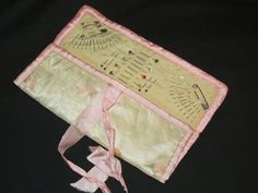 Antique Pin Case Sewing Case Pink Silk by CollectandRecollect
