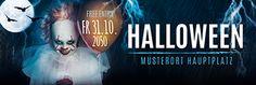 Nutzen Sie die professionellen Vorlagen in unserem Onlineshop #onlineprintXXL #werbebanner #halloween #horrorclown #werbeplane #vorlagen #gestalten Creepy, Scary, Halloween, Advertising, Movies, Movie Posters, Promotional Banners, Pattern Drafting, Templates