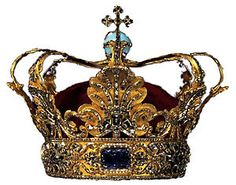 Crown of Christian V, the official crown that was used for the anointments of Danish absolute monarchs until the end of absolutism in 1849, gold, diamonds and rubies