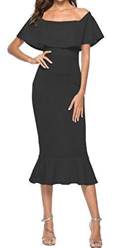 01d88b10fe273 XiaoTianXin-women clothes XTX Womens Sexy Off Shoulder Strapless Ruffle  Bodycon Club Party Midi Dress