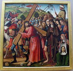 Biagio d'Antonio Tucci, via Crucis, 1470-1480 ca., dalla Cappella Antinori in  Santo Spirito - (The Carrying of the Cross  )al  Louvre . Questa opera fa parte della collezione del Museo del Louvre (dipartimento di Dipinti).