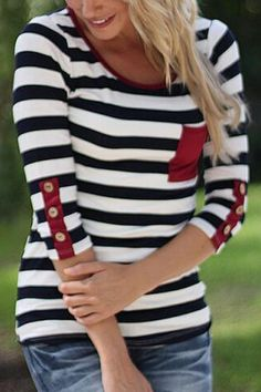 Stylish Scoop Neck Stripe Print Button Embellished 3/4 Sleeve T-Shirt For Women