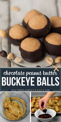 Buckeye Balls are a classic no bake sweetened peanut butter ball dipped in chocolate. I'll tell you how to make buckeyes and why they're perfect for the holidays! Recipe with full video! #buckeyeballs #chocolate #peanutbutter #dessert #recipe #video #easy #best Holiday Treats, Christmas Treats, Christmas Cookies, Holiday Recipes, Homemade Desserts, Homemade Cakes, Easy Desserts, Candy Recipes, Sweet Recipes