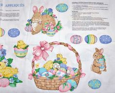 EASTER APPLIQUES Spring Fever Appliques Fabric Panel Eggs Baskets Bunnies Chicks Crafts Supply Sewing - pinned by pin4etsy.com