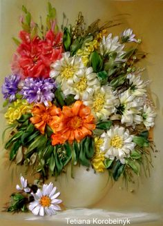 picture Floristic composition embroidered with ribbon.,  Silk ribbon embroidery