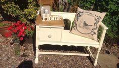Shabby Chic Chippy Oak Telephone Table Seat 1829 Adam Cream Beeswaxed