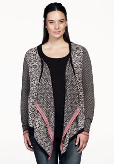 Plus Size Patterned Drape Front Cardigan