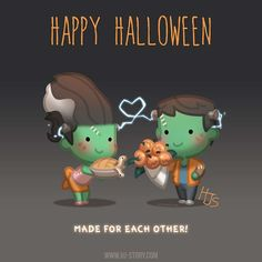 Now that Halloween in asia is over! This one's dedicated to all those celebrating Halloween today! Chibi Couple, Cute Couple Cartoon, Cute Love Stories, Love Story, Tu Me Manques Énormément, I Love You Honey, Hj Story, Halloween Illustration, Couple Illustration