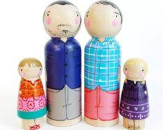 Aangepaste peg pop familie van 5 / / 2 ouders / / 3